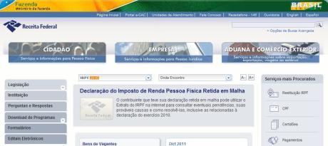 Página da Receita Federal do Brasil